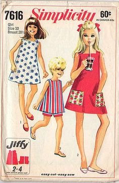 Vintage Simplicity sewing pattern 7616. Original 1960s Girls dress and shorts pattern. Girls' and chubbies' Jiffy dress in two lengths. The sleeveless and collarless dress has lowered square neckline,