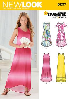 This knit dress for girls can be made as a sleeveless maxi dress with trim near the hem or a high-low hem. Both have racer back with bow. Dress can also be a short high-low with cold shoulder, short sleeves ,or no sleeves. New Look sewing pattern. Sewing Patterns Girls, Simplicity Sewing Patterns, Sewing For Kids, Clothing Patterns, Dress Patterns, Pattern Sewing, Sewing Ideas, Girls Knitted Dress, Knit Dress