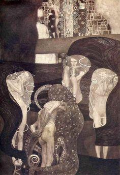 Gustav Klimt, Las pinturas para la Universidad de Viena.La Jurisprudencia.La figura central ya no es una Justicia encumbrada, sino una víctima indefensa de la ley. En primer plano el cuerpo consumido del pecador aparece envuelto en los tentáculos de un enorme pulpo, que representa la conciencia. Las tres siluetas femeninas, representan a las Parcas, las divinidades mitológicas que presiden el curso de la vida humana.Y al fondo, a lo lejos aparecen la Ley y la Verdad, a ambos lados del…
