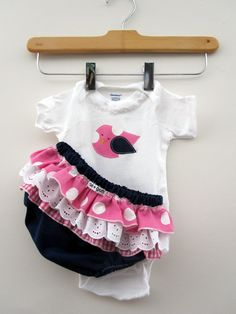 Girls Baby clothes - Onesie With Ruffled Bloomers with Navy and Pink Bird Gift Set. $26.50, via Etsy.