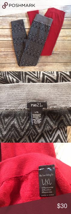 BUNDLE OF Fleece Lined Leggings Rue 21 & Blue Star BUNDLE OF Fleece Lined Leggings: Rue 21 brand in gray & black Zig zag pattern & Blue Star Clothing company solid red. Both sized L/XL and very stretchy. Both GUC barely worn with minimal piling. Offers welcome! Color most accurate in first photo. Rue 21 Pants Leggings