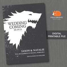 "Wedding Save The Date Card Game of Thrones ""Wedding is Coming"" by FoxGroveDesigns, $12.00"
