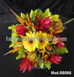 #orange alstroemeria and #red ginger #wedding #bouquet with bird of paradise and #yellow gerbera daisies