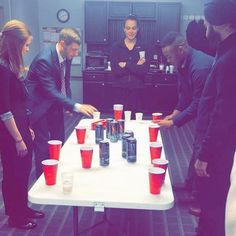 When your day starts off with energy drink flip cup you know it's gonna be a good one  #tmbusinesssolutions #officefun #flipcup #monsterenergy