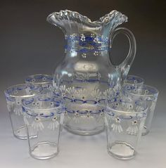 Antique Pitcher Set Glasses Hand Painted Blue White Flowers Enamel Hand Blown ***ALSO SEE Vintage Jewelry at: http://MyClassicJewelry.com/shop