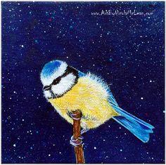A little birdie told me - blue tit - acrylic - Nicola McLean Artist