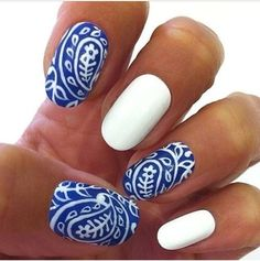 Can't decide if I like these blue and white paisley nails