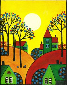 ACEO Print of Painting RYTA Abstract Folk Art Trees Houses Rolling Hills Sun Day | eBay