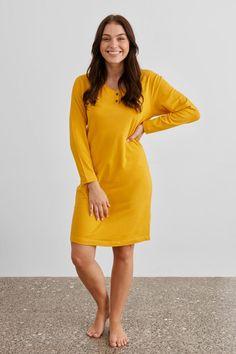 Paris Knit Nightie | Baksana Womens Sleepwear Womens Nighties, Yellow Fabric, Sleepwear Women, Nightwear, Pajama Set, Lounge Wear, Paris, Knitting, Stylish