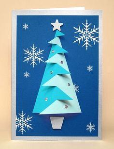 Carte de Noël avec un sapin. Attention le lien est vers un site pour acheter le modèle. Pourtant assez facile à refaire avec des ciseaux et un compas! Joyeux Noël!