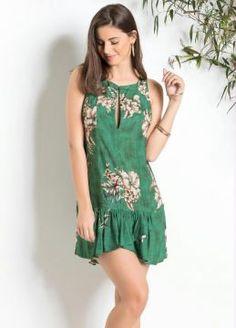 Vestido Curto Estampa Floral Verde Farm - Paraíso Feminino