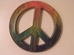 Large Hand Painted Hippie Tie Dyed Peace Sign Room Decoration | OrzoValentine - Retro/Kitsch on ArtFire