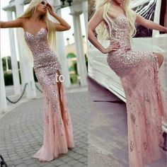 Pink Prom Dress Mermaid Sweetheart With Sparkly Beaded Bodice Corset Fitted Slit Long Prom Dresses Evening Gown,P507 #dressesforteens
