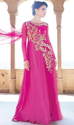 An exceptional pink shade embroidered net gown will make you appear highly stylish and graceful. Beautified with floral patch, resham and stones work. #FushiaPinkEmbroideredNetGown