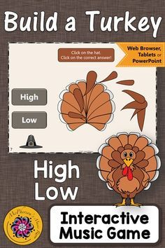Your students will love this fun interactive music game while reviewing music opposites high/low! Easy activity to add to your November music lesson plans! Thanksgiving Music Game High or Low {Interactive Music Game Build a Turkey}!