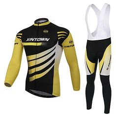 Xinzechen Thermal Fleece Cycling Jersey Long Sleeve and 3D Padded Bib Pants Sets Wind Lord Size M -- Details can be found by clicking on the image.(This is an Amazon affiliate link)
