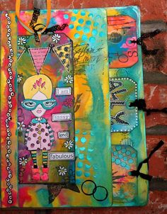 Dyan Reaveley tag art   ... page all put together, including the big #10 manila tag in its place