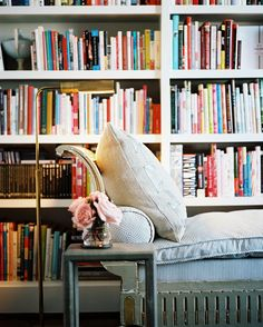 Home library + Reading Nook = Essential in my future home. Pharmacy Floor Lamp, Sweet Home, Home Libraries, Book Nooks, Reading Nooks, Reading Lamps, Reading Lights, Reading Chairs, Vignettes