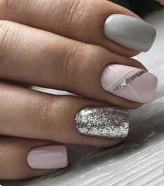 bellissime idee per unghie colorate per Spring Nails 2018 # Spring Nails Source by Colorful Nail Designs, Nail Art Designs, Silver Nail Designs, Stripe Nail Designs, Glitter Nail Designs, Popular Nail Designs, Shellac Nail Designs, Nails Design, Super Nails