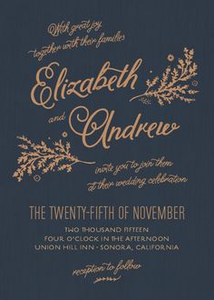 Rustic Chic wedding invitation in copper and navy blue