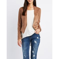 Charlotte Russe Faux Suede Collarless Blazer ($25) ❤ liked on Polyvore featuring outerwear, jackets, blazers, camel, camel blazer, white jacket, zipper blazer, faux-leather jacket and charlotte russe blazer