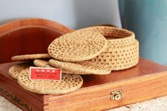 6 Vintage Woven Reed Coasters with Holder - Made in China by thevintagedude, $15.00
