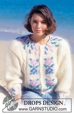 "DROPS 22-14 - DROPS jacket with cables and flower pattern in ""Vienna"". - Free pattern by DROPS Design"