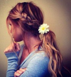 Beautiful Braids… Simple but cute! For summer, with one of my flower hair pins! Pretty Braided Hairstyles, Hairstyle Look, Ponytail Hairstyles, Summer Hairstyles, Hair Ponytail, Braid Hair, Loose Hairstyles, Prom Hairstyles, Messy Braids