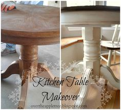 DIY kitchen table makeover by Over The Apple Tree Table Makeover Apple DIY Kitchen Makeover Table Tree Refurbished Furniture, Furniture Makeover, Painted Furniture, Furniture Projects, Furniture Making, Diy Furniture, Luxury Furniture, Kitchen Table Makeover, Diy Kitchen