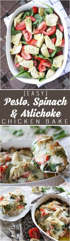 Easy Pesto Spinach Artichoke Chicken Bake Recipe | The Pinning Mama | Bloglovin'