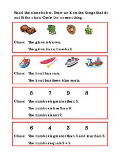 4+Sets+of+Clues.+Reading+Journal+Supplement.+Clue+Pictures.+ELA.+Clue+answers+brown+baseball+glove,+boat+with+oars+and+3+seats+canoe,+the+number+8,+the+number+4.+Great+for+Math+Center+Printable+Worksheet.+Read+the+clues,+draw+an+X+on+the+things+that+do+not+fit+the+clues,+circle+the+correct+thing.