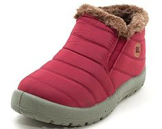 VOVO Womens Warm Lined Faux Fur Short Ankle Boot 105 65 BM US Red Wine *** Details can be found by clicking on the image.