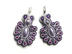 Purple Peacock  soutache earrings by Bajobongo on Etsy