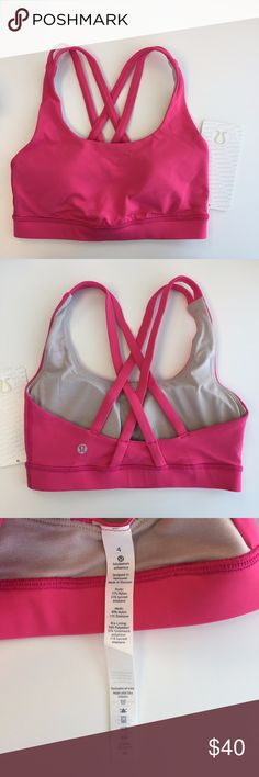 Lululemon Energy Bra Bon Bon Pink Energy Bra. Brand new with tags - Size 4 lululemon athletica Intimates & Sleepwear Bras