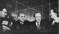 """Early in 1949, a group of some 35 """"Schindlerjuden"""" gathered privately at Aux Armes de Colmar, an Alsatian restaurant in the north of Paris, to celebrate their friend Oskar Schindler, who was then passing through the city. Itzhak Stern sits next to Oskar Schindler."""