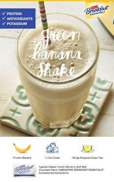 "Try this winning Green Banana Shake recipe submitted by a consumer for Carnation Breakfast Essentials® ""Shake Up Your Morning"" recipe contest. It's a great way to get protein, antioxidants, potassium…More Breakfast Tea, Breakfast Smoothies, Healthy Smoothies, Healthy Drinks, Smoothie Recipes, Healthy Snacks, Green Smoothies, Healthy Sweets, Healthy Skin"