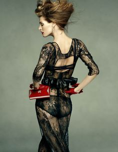 """Divina Malgosia"" : Malgosia Bela : Vogue Spain July 2011 : Greg Kadel : Black lace dress with red gloves and clutch Greg Kadel, Love Fashion, Fashion Models, High Fashion, Fashion Trends, Dark Fashion, Sport Fashion, Fashion Details, Fashion Art"
