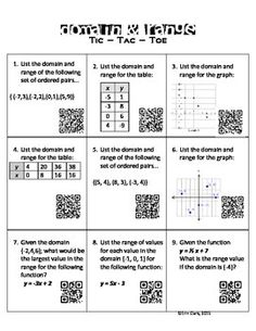 Fun way for students to practice identifying the domain and range from different representations of relations and functions: table, graph, and set or ordered pairs. Students will also practice calculating the range given a function and specific domain.Activity may be used as a pairs game of tic-tac-toe or as an individual station or practice activity.
