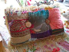 Boho Creek Chic Pillow Silk Patchwork Beaded by AllThingsPretty