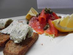 Krostini with smoked salmon and caper (black bread,s moked salmon, lemon juice, olive oil, caper, spice butter)