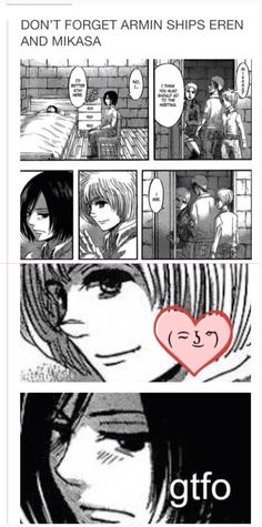 I might not ship them, but this just proves how Armin is a f*cking adorable person! If he ever dies, I'd just stop watching the show. ( Hajime Isayama this was not a hint! Spare Armin please >_<) Armin, Eren X Mikasa, Attack On Titan Funny, Attack On Titan Anime, Aot Memes, Eremika, Levihan, Titans Anime, Kawaii