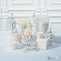 White candy buffet supplies complement any wedding theme. Mix and match white candy in candy buffet jars to add a touch of fun to your wedding decorations. Candy Buffet Jars, Candy Buffet Supplies, Party Supplies, Candy Jars, Pearl Bridal Shower, Bridal Showers, Baby Shower Buffet, Sweet Jars, Snowflake Wedding