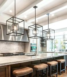 Superb Modern Kitchen Island Pendant Lights Cube Cage Lighting Complete With Bulbs  Complements An Kitchen Island Light