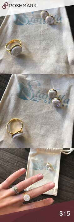 Starletta Designs Ring + Earring Set Faux Druzy // Gold // Earring + Ring // Necklace not included // Adjustable  Ring Starletta Designs Jewelry Rings