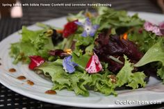 How beautiful and Festive is this one!!!         Spring Salad with Edible Flower Confetti and Lavender Honey Dressing (Mixed greens with edible flower confetti drizzled with Lavender Honey Dressing)