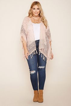Forever 21+ - A woven kimono featuring an allover abstract print, fringe hem, open front, and short sleeves.