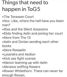 ROWAELIN, LYSANDRA AND AEDION, NOX, ELIDE, MANON AND ABRAXOS YES I WANT ALL OF THESE PEOPLE IN EMPIRE OF STORMS OK THANKS