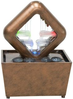 """Ok Lighting FT-1168/1L 6.5""""H Table Fountain With Light"""
