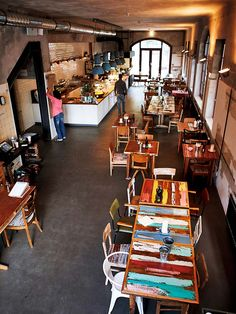 Bullerei Restaurant Hamburg Tim Mälzer cool table tops smallrestaurantinteriors commercialinteriordesign cooltabletops is part of Restaurant - My Coffee Shop, Coffee Shop Design, Cafe Design, Coffee Shops, Restaurant Hamburg, Restaurant Tables, Modern Restaurant, Café Bar, Cafe Coton