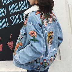 ARMSO Tiger And Flower Patches Embroidery Denim Jacket@ shopjessicabuurman.com
